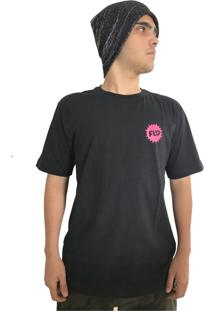 Camiseta Flip Skateboards Pink Splash Preta