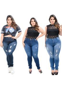 Kit 3 Calças Destmoda Jeans Plus Size Skinny Azul