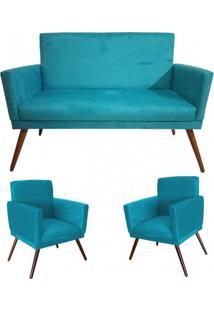Kit Namoradeira Com 02 Poltronas Decorativa Nina Rodapé Suede Azul Turquesa - Ds Móveis