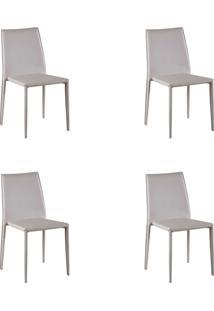 Kit 04 Cadeiras Amanda Pvc Nude Rivatti