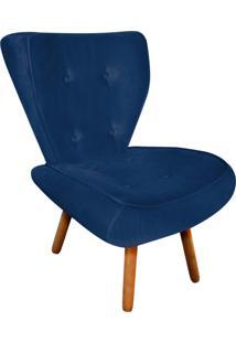 Poltrona Decorativa Tathy Suede Azul Marinho Pés Palito - D'Rossi
