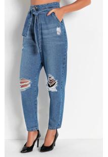 Calça Jeans Slouchy Com Rasgos Sawary