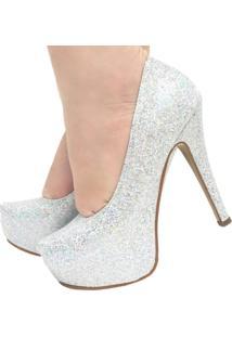 Scarpin Mamogi Meia Pata Com Glitter Prata Festa Noiva Casamento Prata/Branco