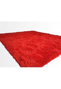 Tapete Saturs Shaggy Pelo Alto Vermelho - 50 X 100 Cm Tapete Para Sala E Quarto
