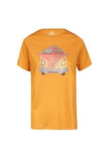 Camiseta Feminina Kombi Vintage Mostarda