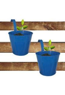 Kit Com 2 Cachepot Para Jardim Suspenso Vertical De Metal Grande Azul