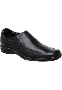 Sapato Conforto Malbork Em Couro Liso - Masculino-Preto