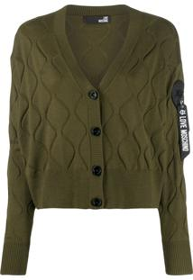 Love Moschino Wave-Embellished Cardigan - Verde