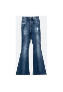 Calça Flare Jeans Com Puídos E Barra Cortada À Fio | Blue Steel | Azul | 40