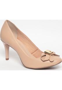 Sapato Em Couro Com Laço - Nude- Salto: 8Cmjorge Bischoff