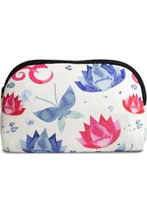 Necessaire Em Neoprene Tritengo Flor De Lotus Ziper - Unissex-Branco+Azul