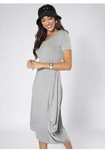 Vestido Midi Assimétrico Cinza