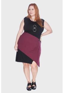 Vestido Bold Regata Bicolor Plus Size Feminino - Feminino-Vinho