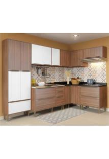 Cozinha Completa Multimóveis Com 7 Peças Calábria 5462 Nogueira/Branco