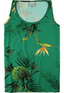 Blusa Verde Em Viscose Tropical