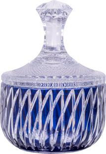 Vaso De Cristal Lodz Com Tampa – Azul Terrestre