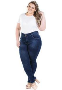 Calça Jeans Feminina Jegging Cós Com Ribana Plus Size - Feminino