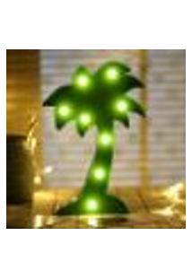 Luminária Led Abajur Luz Decoracão Modelo Palmeira Verde