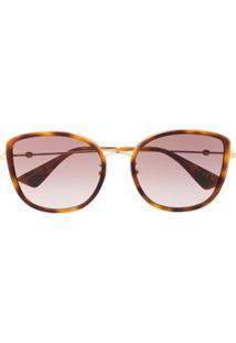Gucci Eyewear Óculos De Sol Quadrado Oversized - Marrom