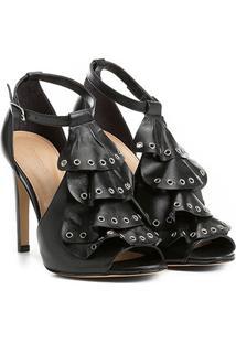 Sandália Couro Shoestock Babados Rocker Feminina