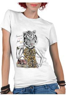 Camiseta Criativa Urbana Tigresa Oncinha - Feminino-Branco