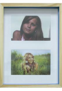 Quadro Para Fotos Wood Natural E Azul 20X30Cm