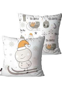 Kit Com 2 Capas Para Almofadas Pump Up Decorativas Natalinas Boneco De Neve Estilo Desenho Infantil 45X45Cm