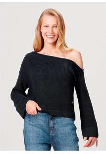 Blusão Feminino Em Tricô De Algodão E Modelagem Bo