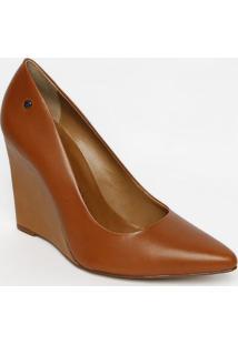 Sapato Anabela Em Couro - Marrom - Salto: 11Cmmorena Rosa
