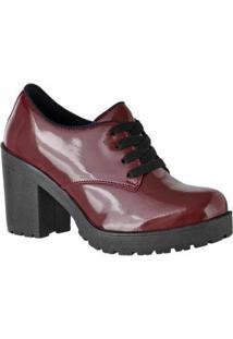 Oxford D&R Shoes Verniz Tratorada Feminina - Feminino-Vermelho