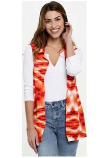 Colete Feminino Alongado Estampa Tie Dye