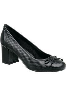 Sapato Tradicional Em Couro Com Laã§O- Preto- Salto: Mr. Cat
