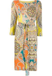 Etro Vestido Midi Com Estampa Paisley - Amarelo