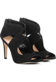 Sandália Shoestock Salto Fino Nobuck Feminina - Feminino-Preto