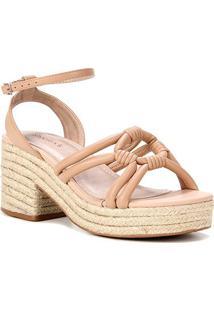Sandália Couro Shoestock Meia Pata Corda Feminina - Feminino-Nude