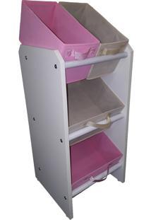 Organizador Organibox Porta Brinquedo Rosa E Bege Mini