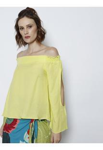 Blusa Ciganinha Com Linho & Recortes Vazados- Verde Clartvz