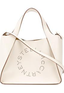 Stella Mccartney Bolsa Tote Stela Pequena Com Logo - Branco