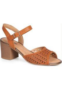 Sandália Salto Grosso Conforto Dakota Lasercut Caramelo