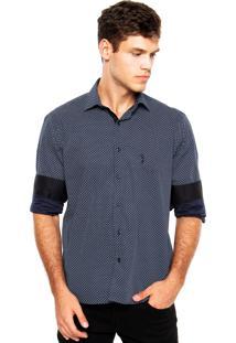Camisa Aleatory Bordado Azul-Marinho