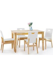 Sala De Jantar Com Mesa E 4 Cadeiras Tucupi 120Cm - Acabamento Natural E Laca Branco