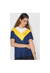 Camiseta Lacoste Color Block Off-White/Azul-Marinho