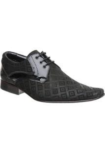 Sapato Malbork Em Couro Verniz E Nobuck Estampado 447 - Masculino-Preto