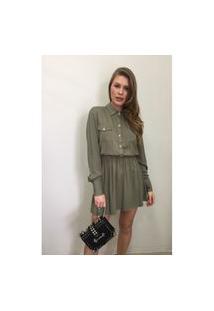 Vestido Chemise Com Elástico Vesi80827 Verde Musgo