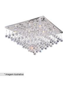 Plafon Quadrado Com Pingentes- Cristal- 37X60Cm-Hevvy