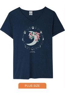 Blusa Azul Marinho Moon Decote V Plus