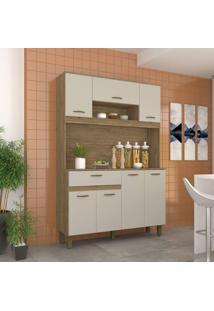 Armário Cozinha 7 Portas 1 Gaveta Briz Rústico/Cristal