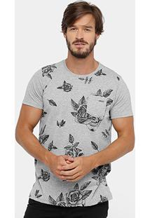 Camiseta Yellowl Bolso Skull Flowers Masculina - Masculino
