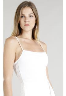 Body Feminino Texturizado Alças Finas Branco