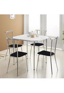 Mesa 1510 Branca Cromada Com 4 Cadeiras 154 Preta Carraro